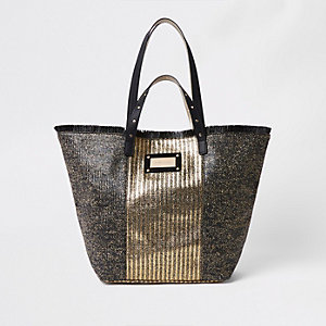 Zwarte metallic geweven strandtas