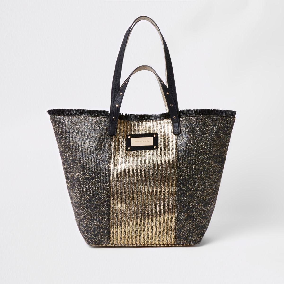 Black metallic woven beach bag