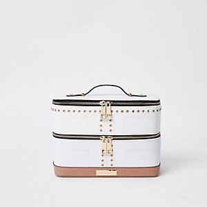 White stud and eyelet vanity case
