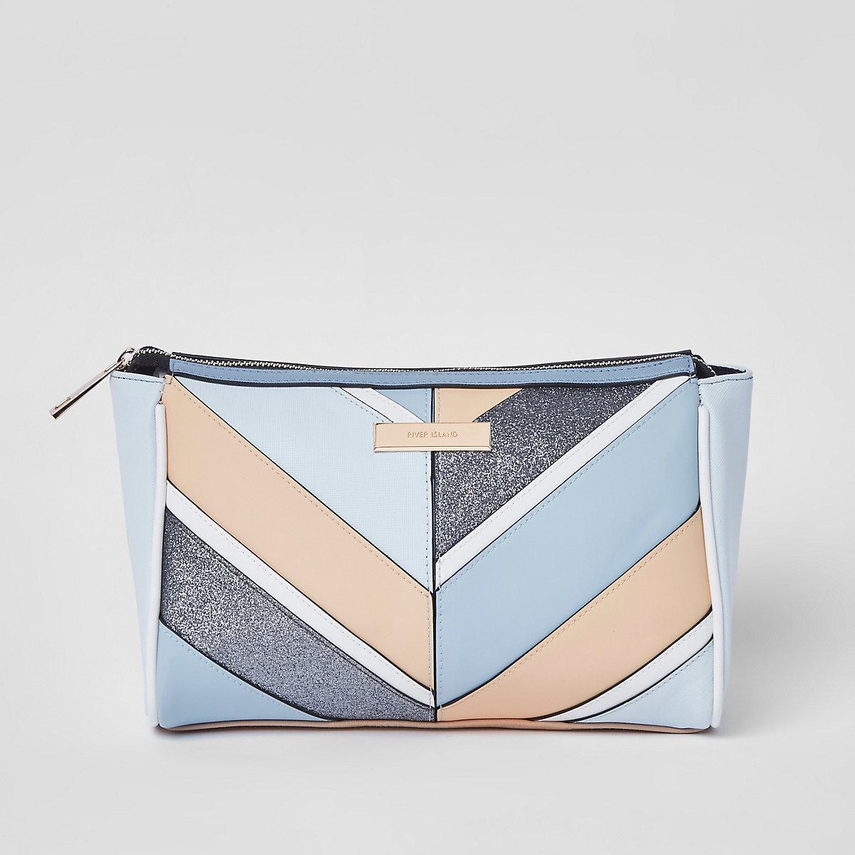 Blue cutabout panel zip top makeup bag