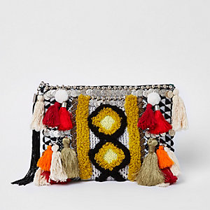 Black embellished jacquard pouch clutch bag