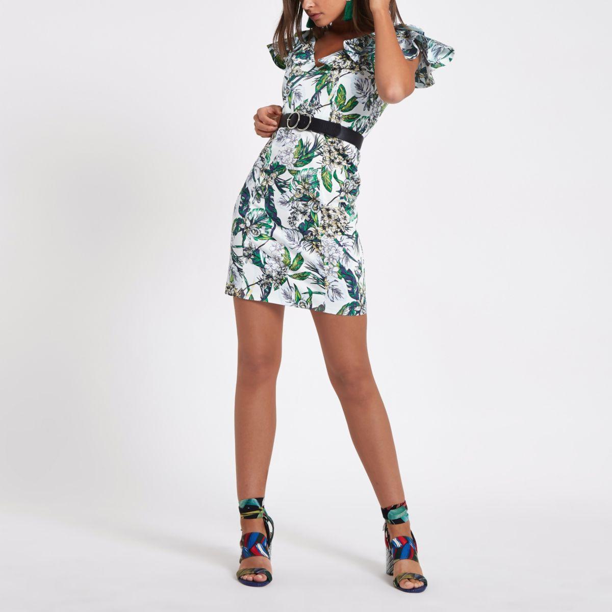 Cream floral frill bodycon mini dress