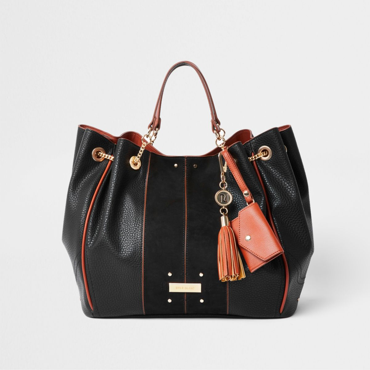 Black tassel chain underarm slouch bag