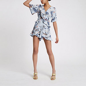 Blue floral knot front frill romper