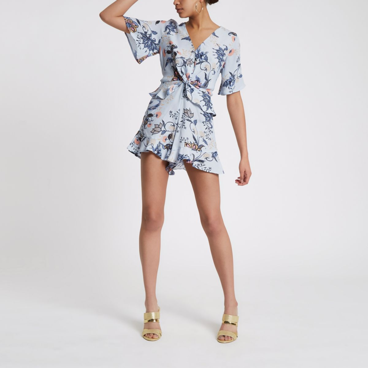 Blue floral knot front frill playsuit
