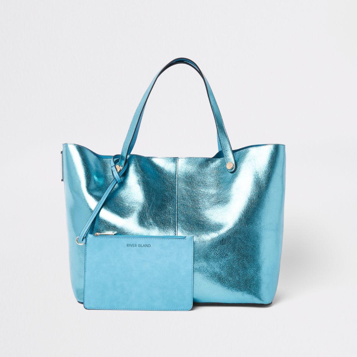 Blauwe metallic strandtas