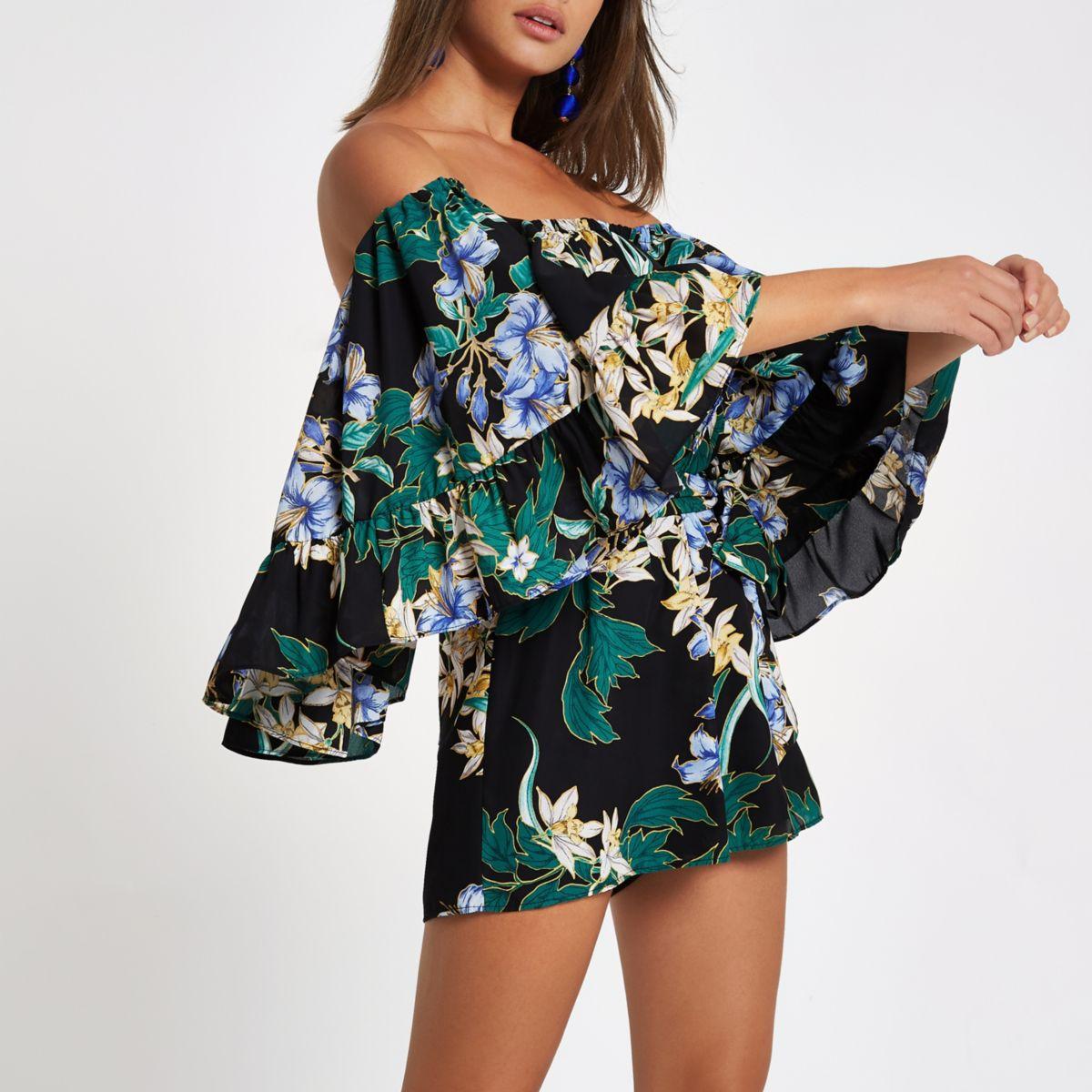 Black floral frill bardot playsuit