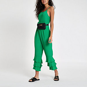 Green tiered frill leg jumpsuit