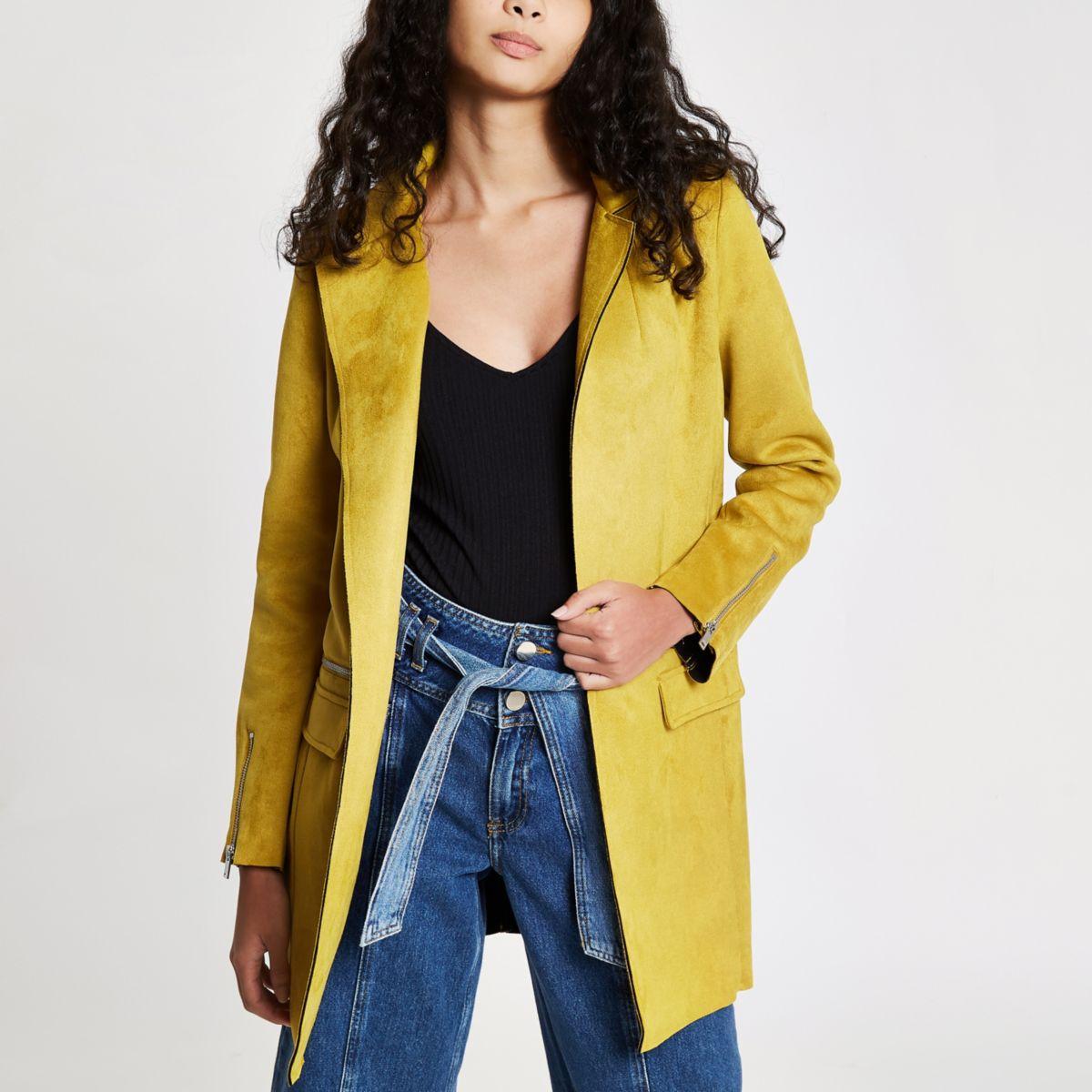 Yellow faux suede longline jacket