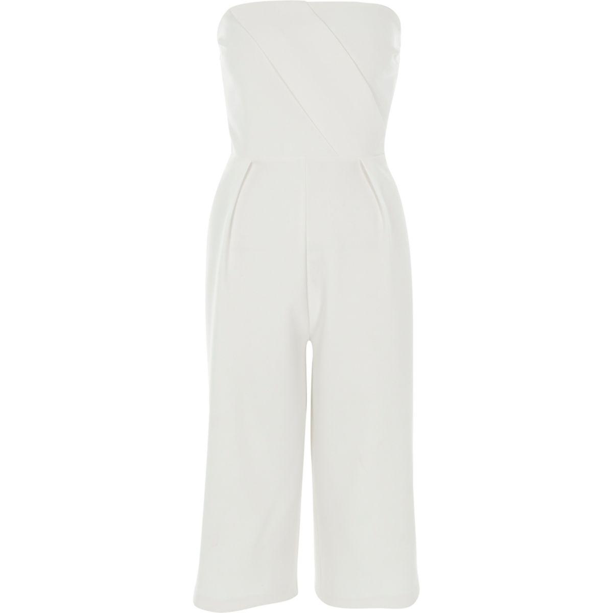 Cream bardot wide leg culotte jumpsuit