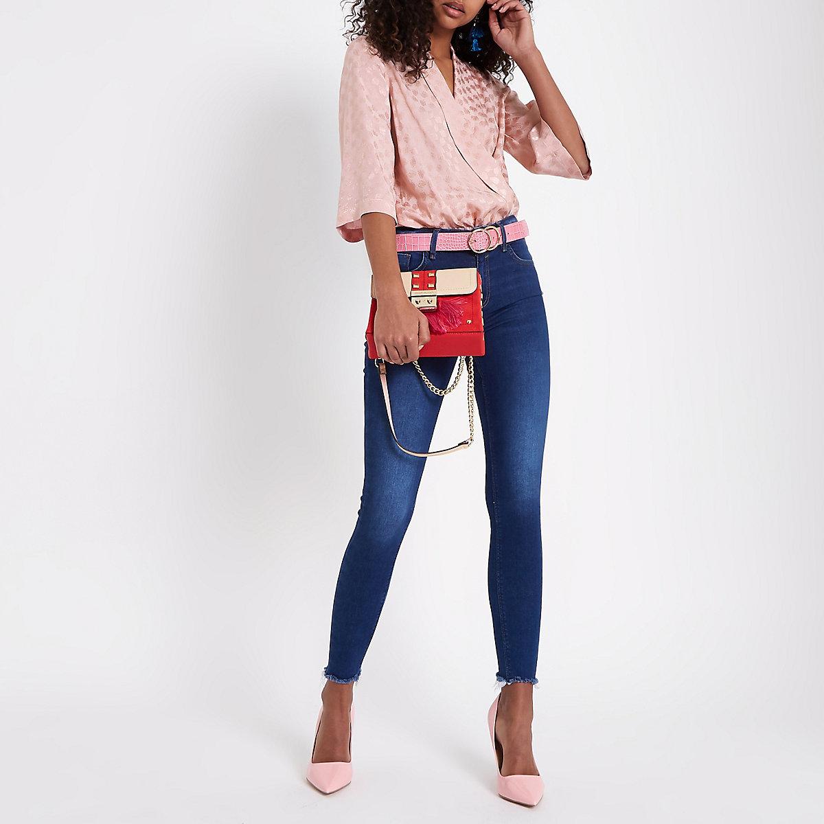 Pink kimono sleeve bodysuit