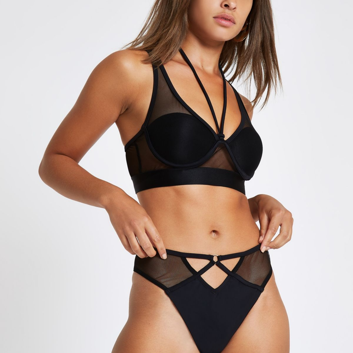 Black mesh high apex balconette bikini top