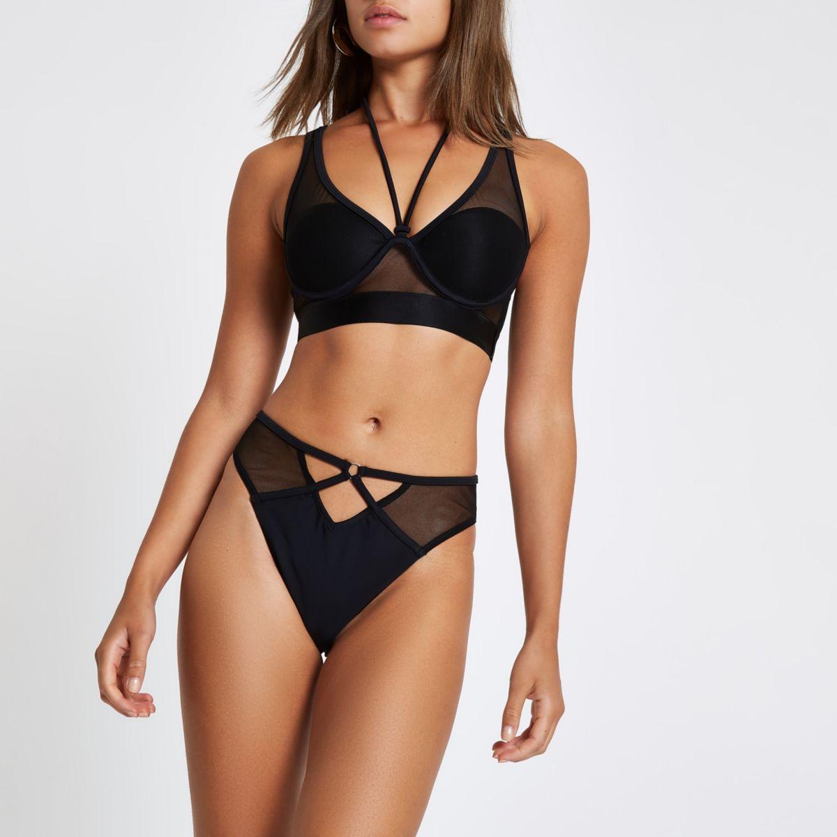 Zwart mesh hoog opgesneden bikinibroekje