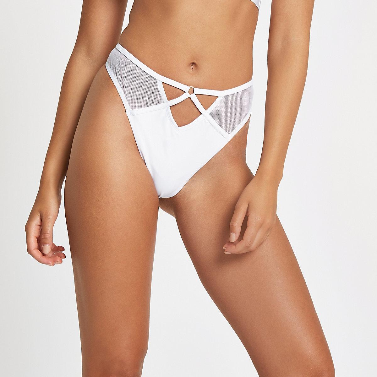 White mesh high leg bikini bottoms
