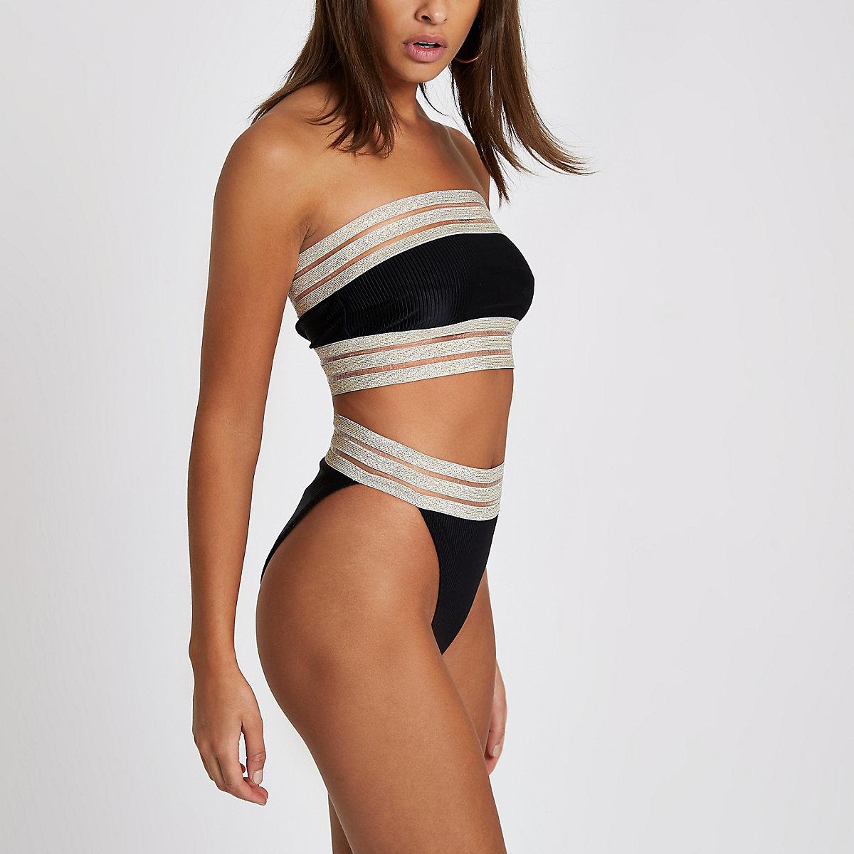 Black ribbed elastic high leg bikini bottoms