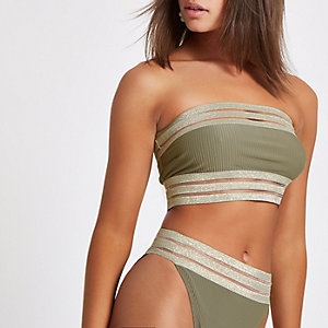 Geripptes, elastisches Bandeau-Bikinioberteil in Khaki