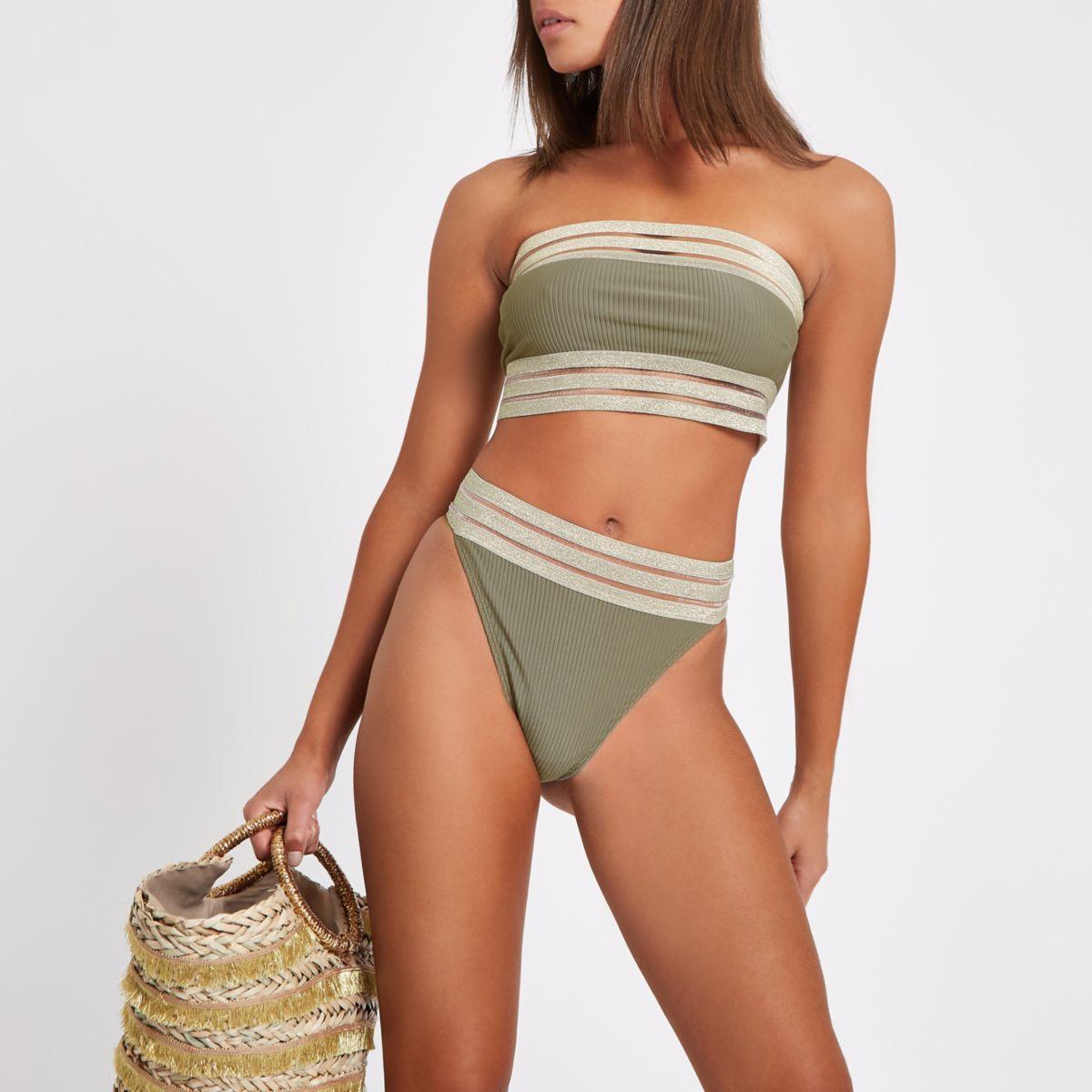 Khaki rib elastic high leg bikini bottoms