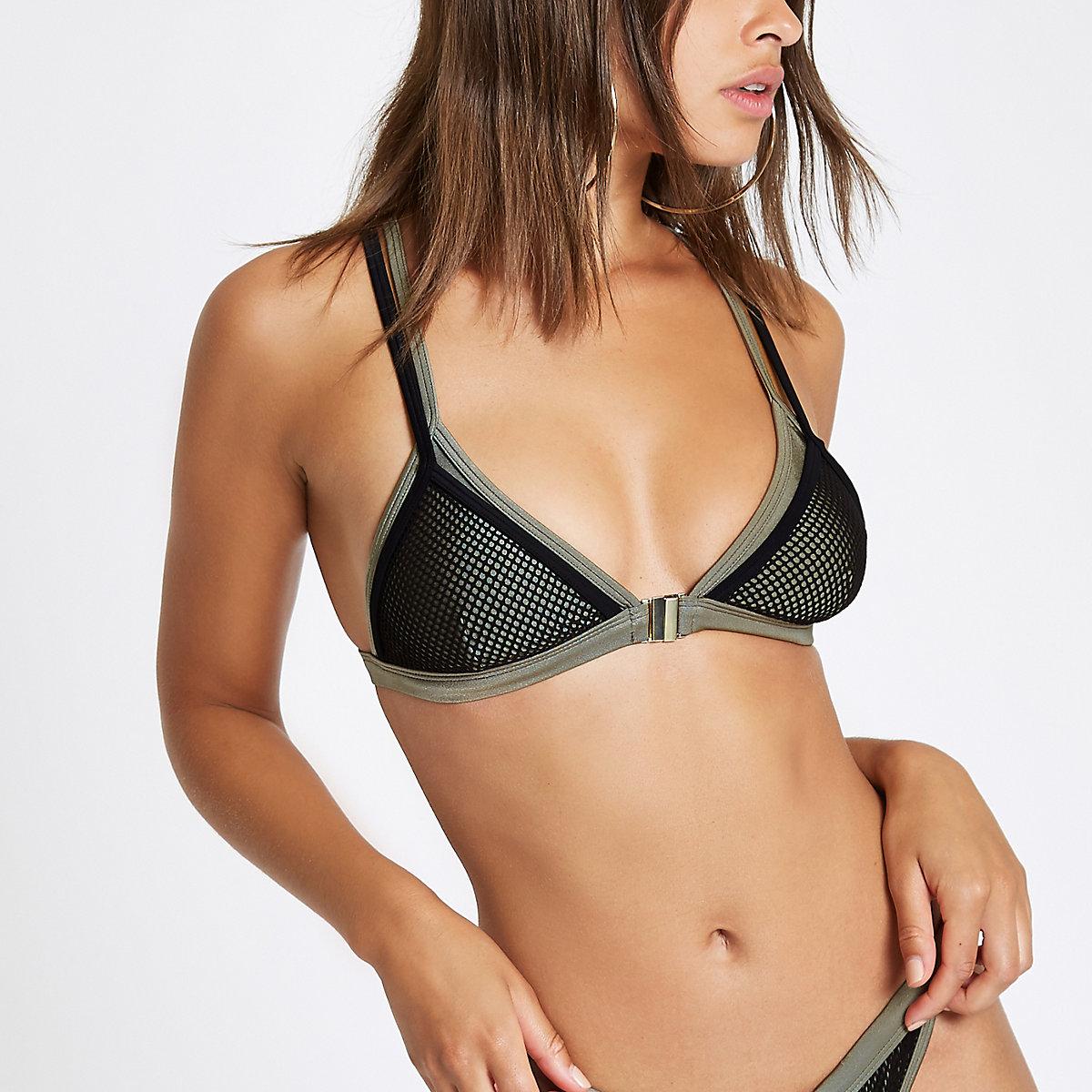 Khaki mesh triangle bikini top