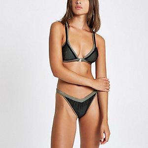 Kaki mesh hoog opgesneden bikinibroekje
