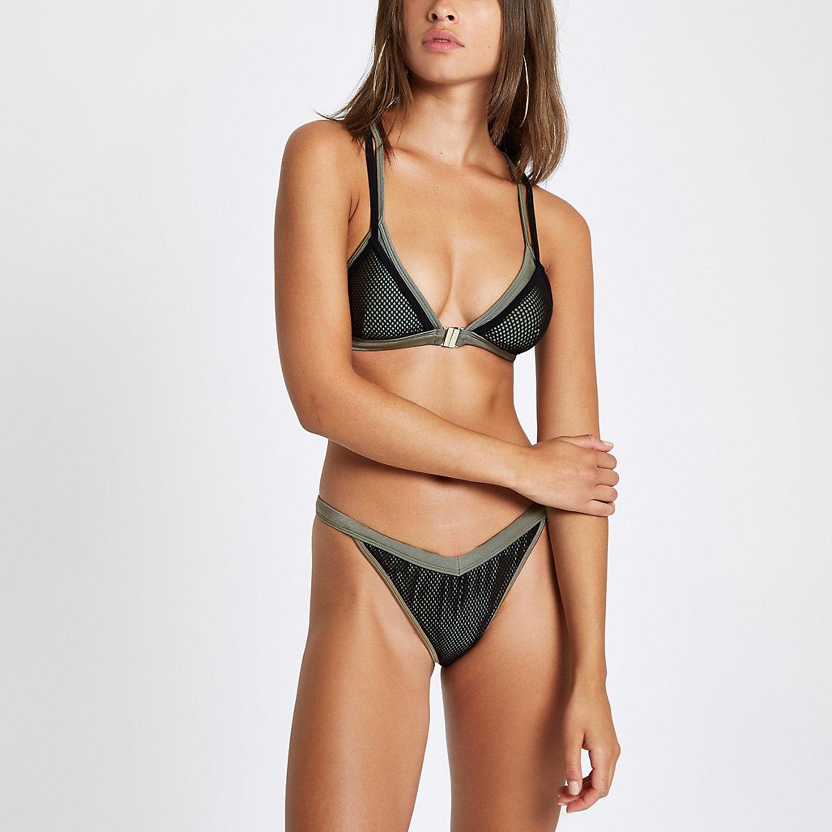 Khaki mesh high leg bikini bottoms