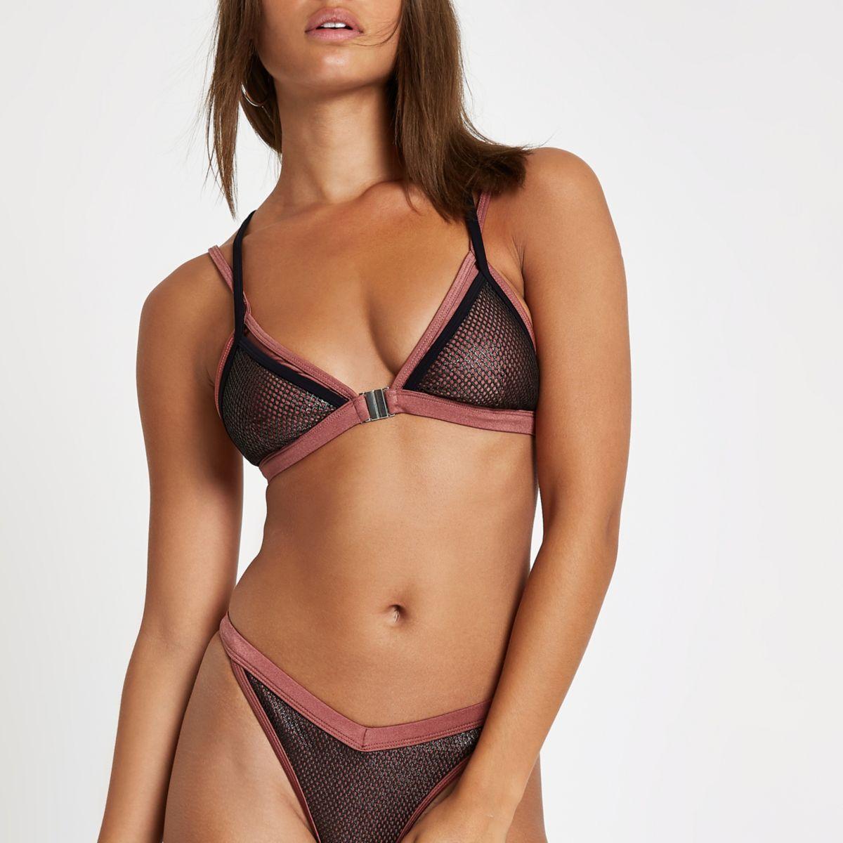 Dark red mesh triangle bikini top