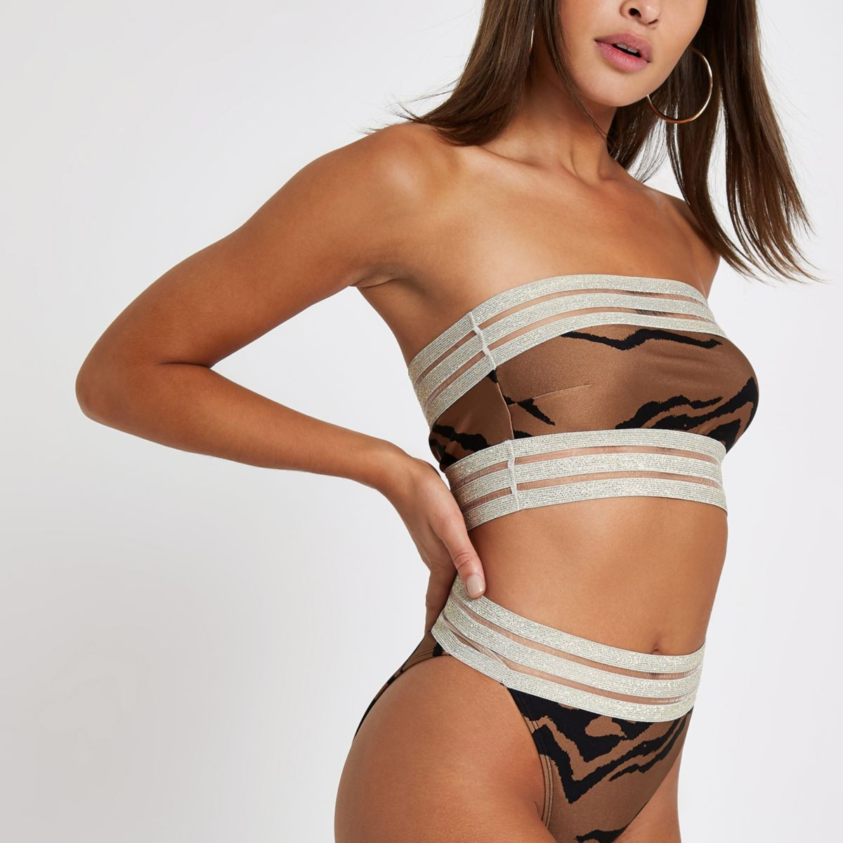 Brown animal print bandeau bikini top