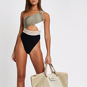 Khaki ribbed one shoulder high leg swimsuit