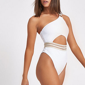 White rib elastic one shoulder swimsuit