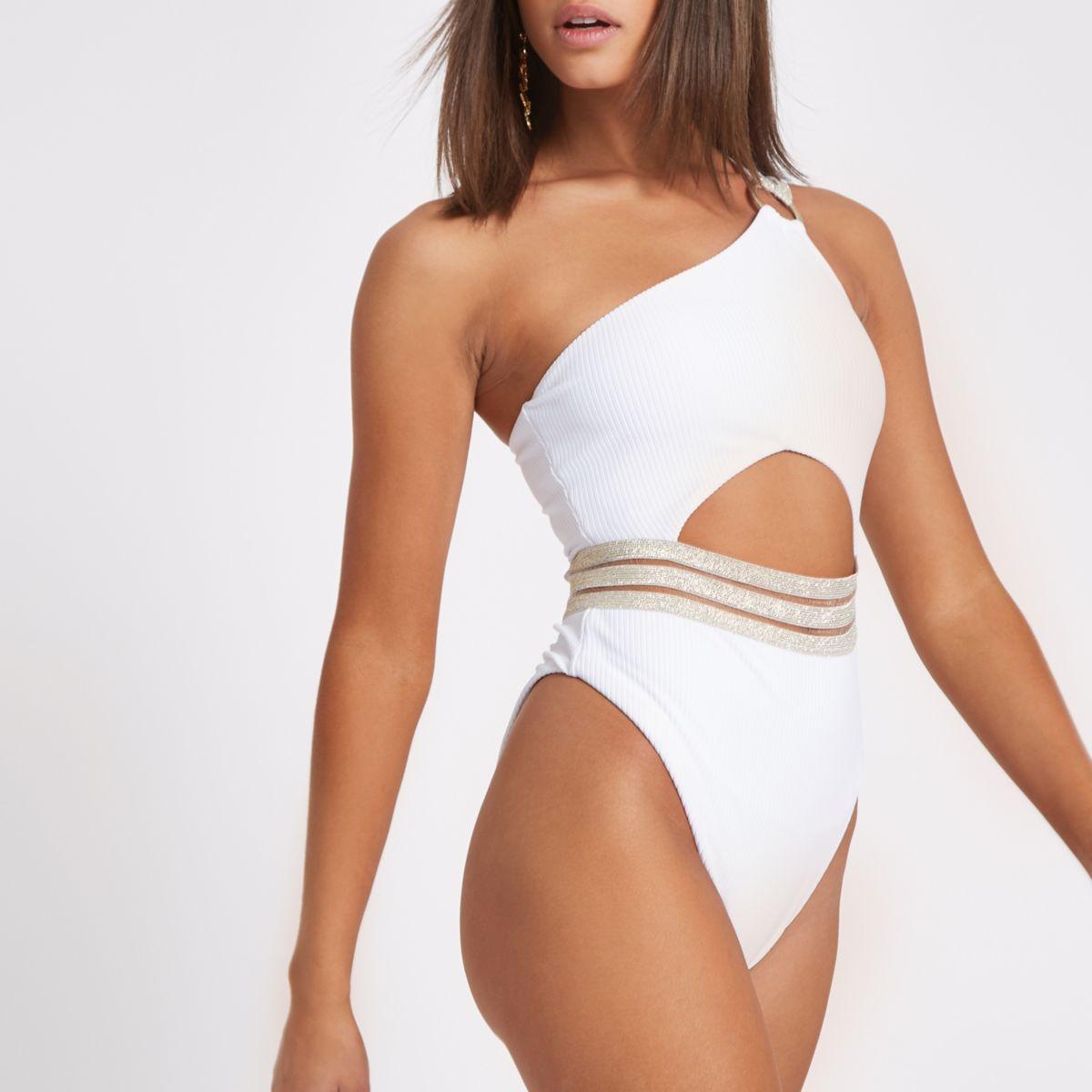 White rib elastic one shoulder swimsuit