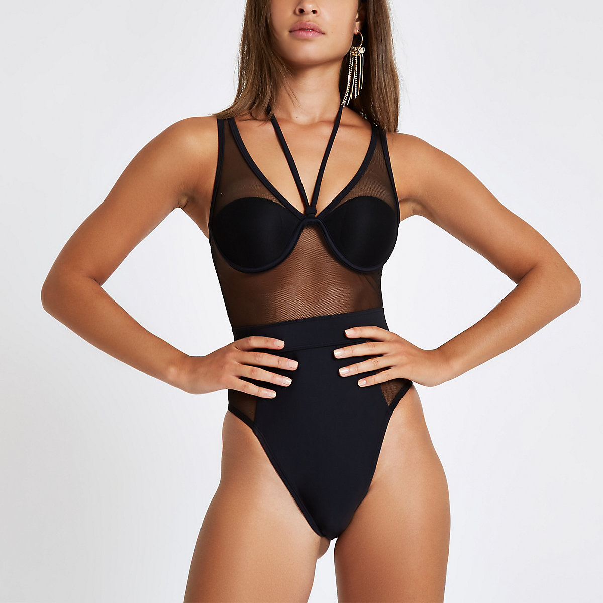 Black mesh high leg swimsuit