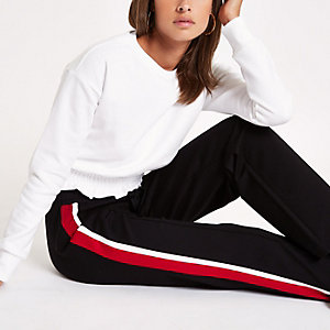 Wit sweatshirt met gesmokte zoom