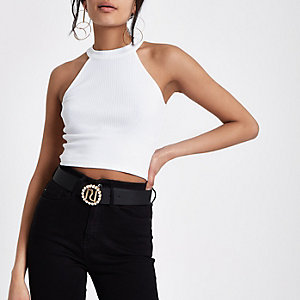 White ribbed halterneck crop top