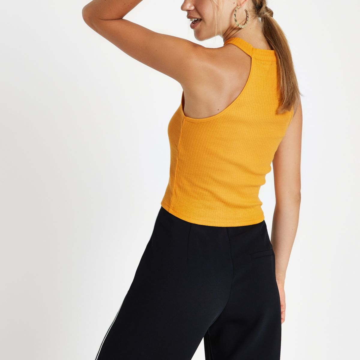 Yellow Ribbed Halterneck Crop Top by River Island