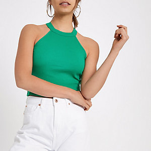 Green ribbed halterneck crop top