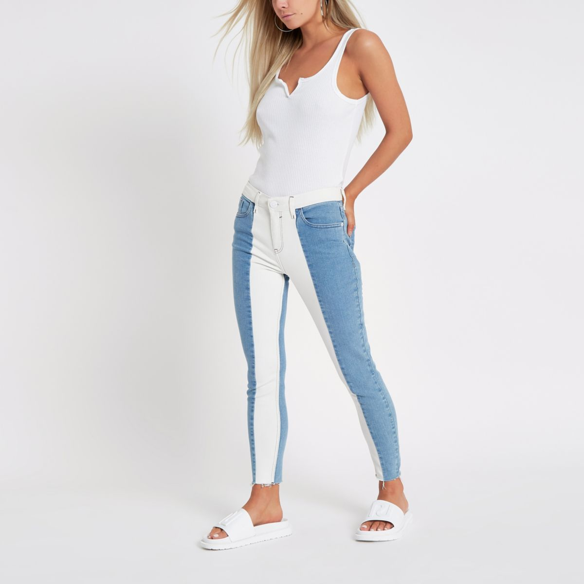 Petite white Amelie stripe super skinny jeans