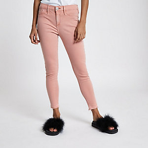 Petite pink Molly raw hem jeggings
