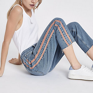 Petite blue Casey side stripe slim fit jeans