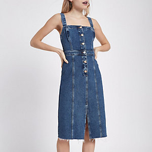 Petite mid blue fitted button denim dress