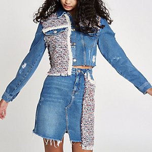 Blue faux pearl embellished  denim jacket