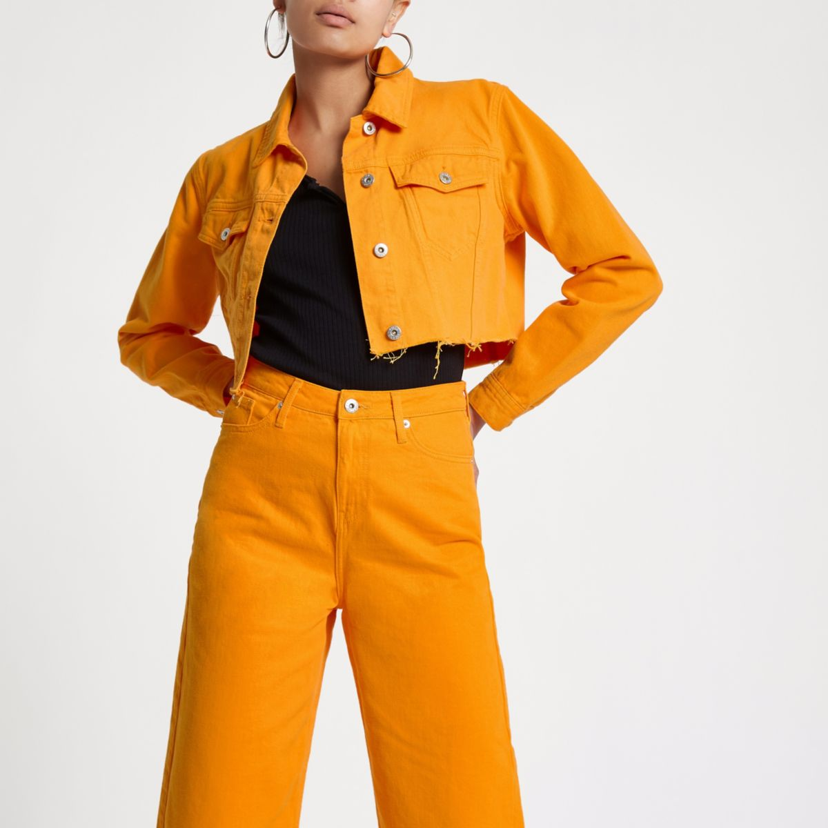 Orange Raw Hem Cropped Denim Jacket                                    Orange Denim Pencil Skirt by River Island