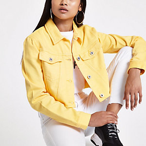 Petite yellow cropped denim jacket