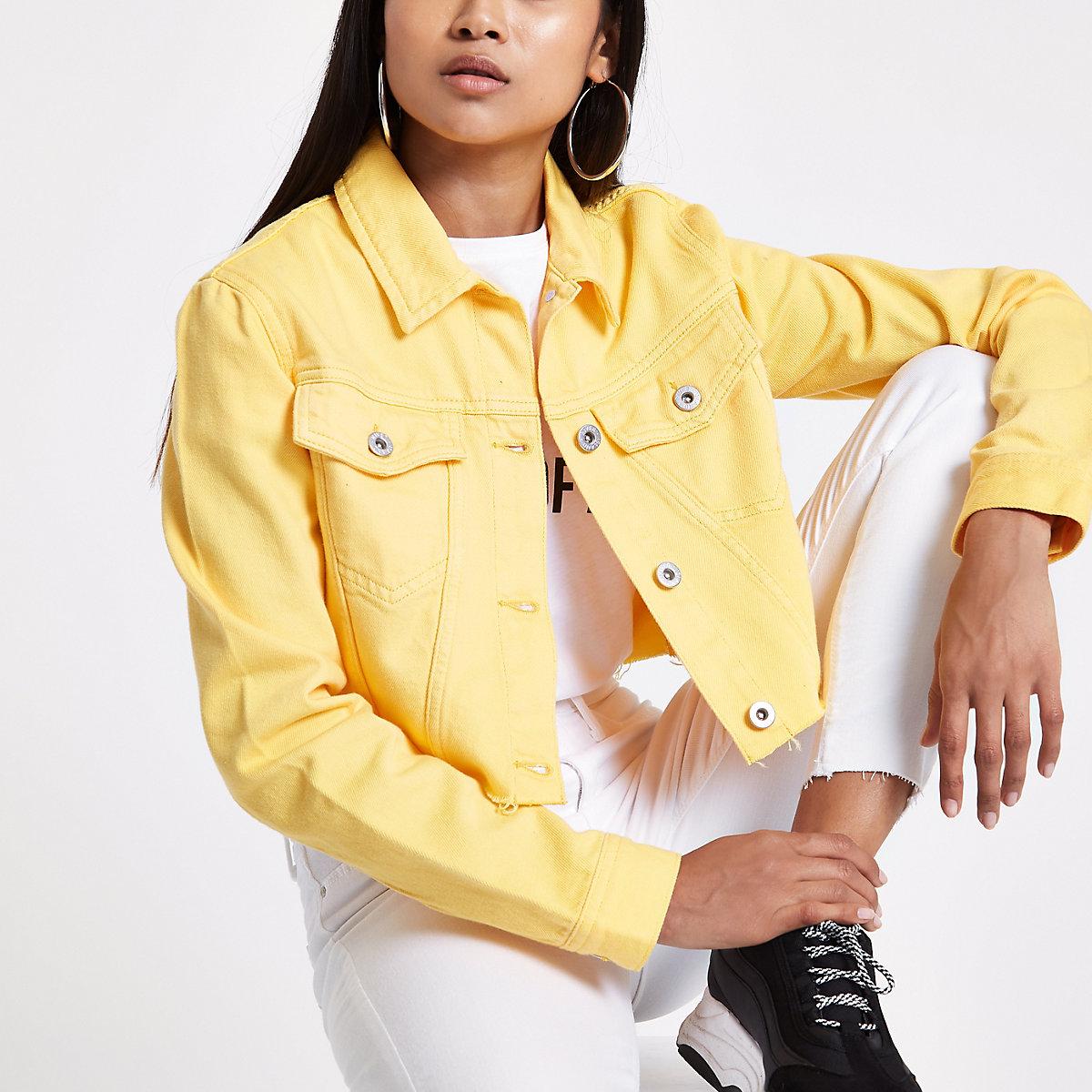 Petite yellow cropped denim jacket