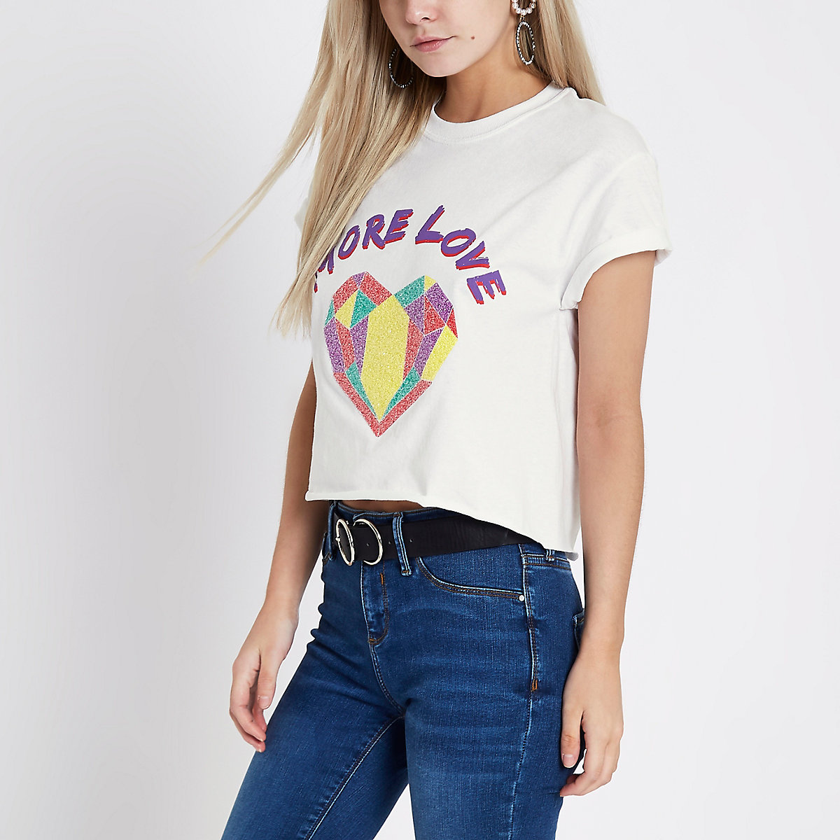 Petite White 'more love' heart print T-shirt