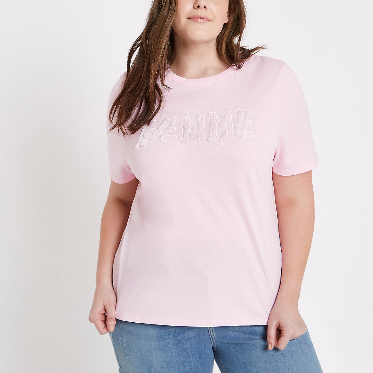 Plus pink 'Femme' fitted T-shirt