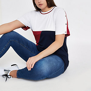 Plus navy colour block popper sleeve T-shirt