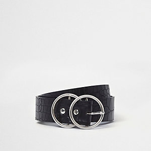 Schwarzer Jeansgürtel mit zwei Ringen
