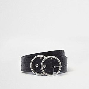 Zwarte jeansriem met krokodilleneffecte en dubbele ringen aan de gesp