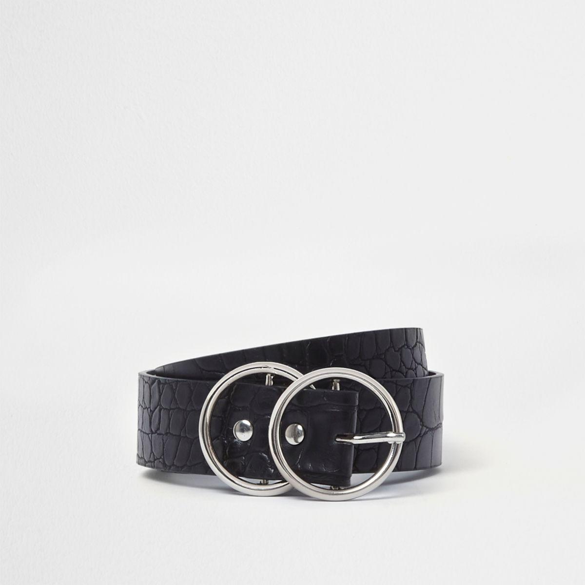 Black croc double ring buckle jeans belt