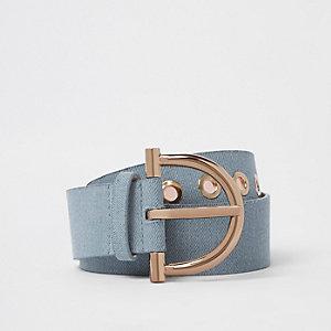Light blue denim stirrup buckle belt