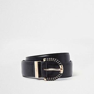 Zwarte jeansriem met bedekte goudkleurige gesp